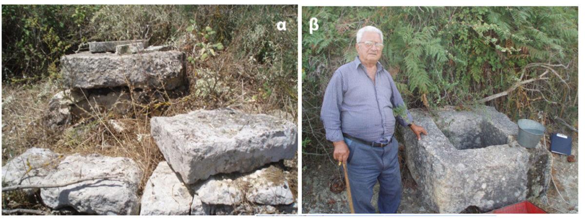 Εικ. 4. α) Υπόγεια  αποθήκη  (δεξαμενή) βάθους 5 μ., με ορθογώνιο στόμιο, λαξευμένη στο ασβεστολιθικό υπόβαθρο, στην κορυφή του Κρίκελου. β) Αρχαίο πηγάδι, με λαξευμένο ορθογώνιο ασβεστολιθικό στόμιο και καθαρό πόσιμο νερό στις παρειές του λόφου.
