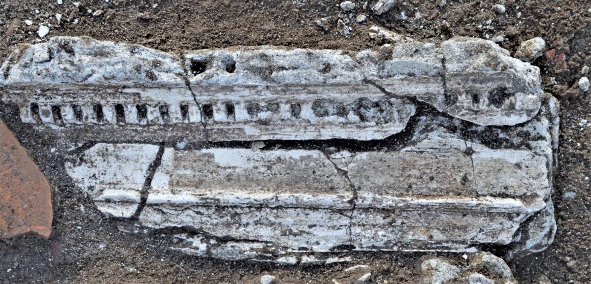 Ιωνικό γείσο από τη διακόσμηση των τοίχων του ναόσχημου χώρου. Φωτ.: Εφορεία Αρχαιοτήτων Ημαθίας.
