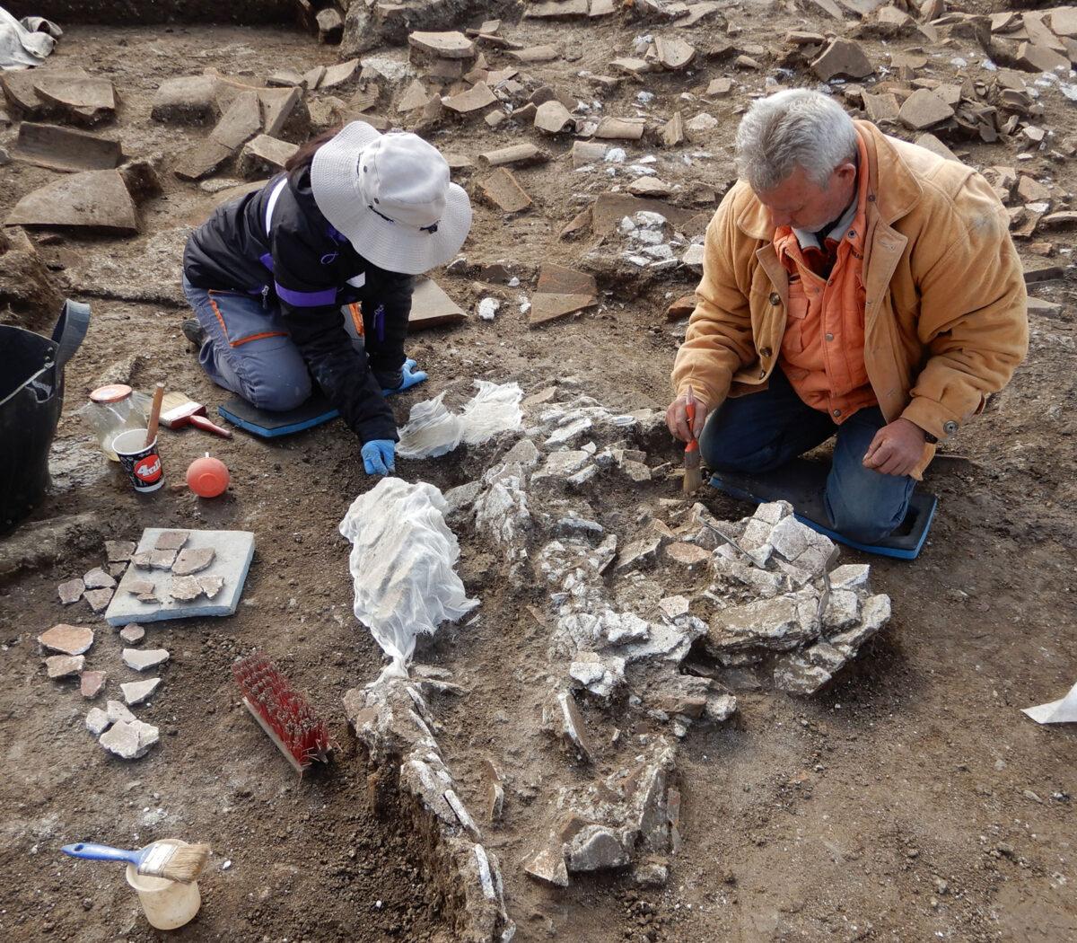 Καθαρισμός, πρώτες βοήθειες και περισυλλογή των πεσμένων κονιαμάτων. Φωτ.: Εφορεία Αρχαιοτήτων Ημαθίας.