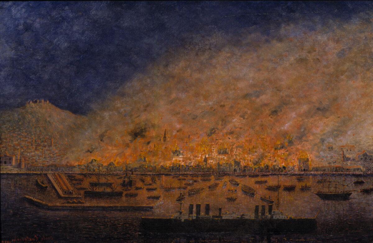 Ovid Kurtovich, «Η καταστροφή της Σμύρνης», 1922. Ελαιογραφία. Μουσείο Μπενάκη 38238.