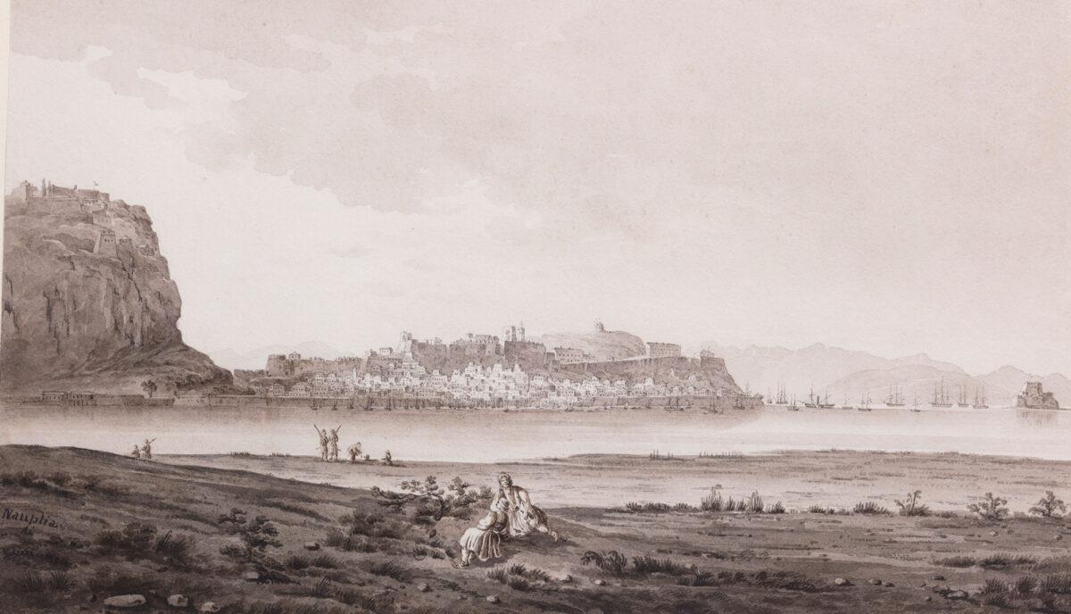 Anton Schranz the Younger (1901-1865), «Nafplion». Άποψη του Ναυπλίου από την περιοχή του βάλτου, περ. 1820.