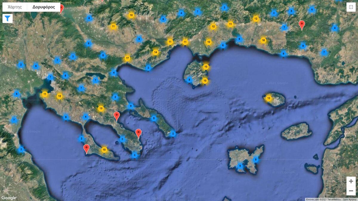 Χάρτης από την ιστοσελίδα του προγράμματος ARENA.