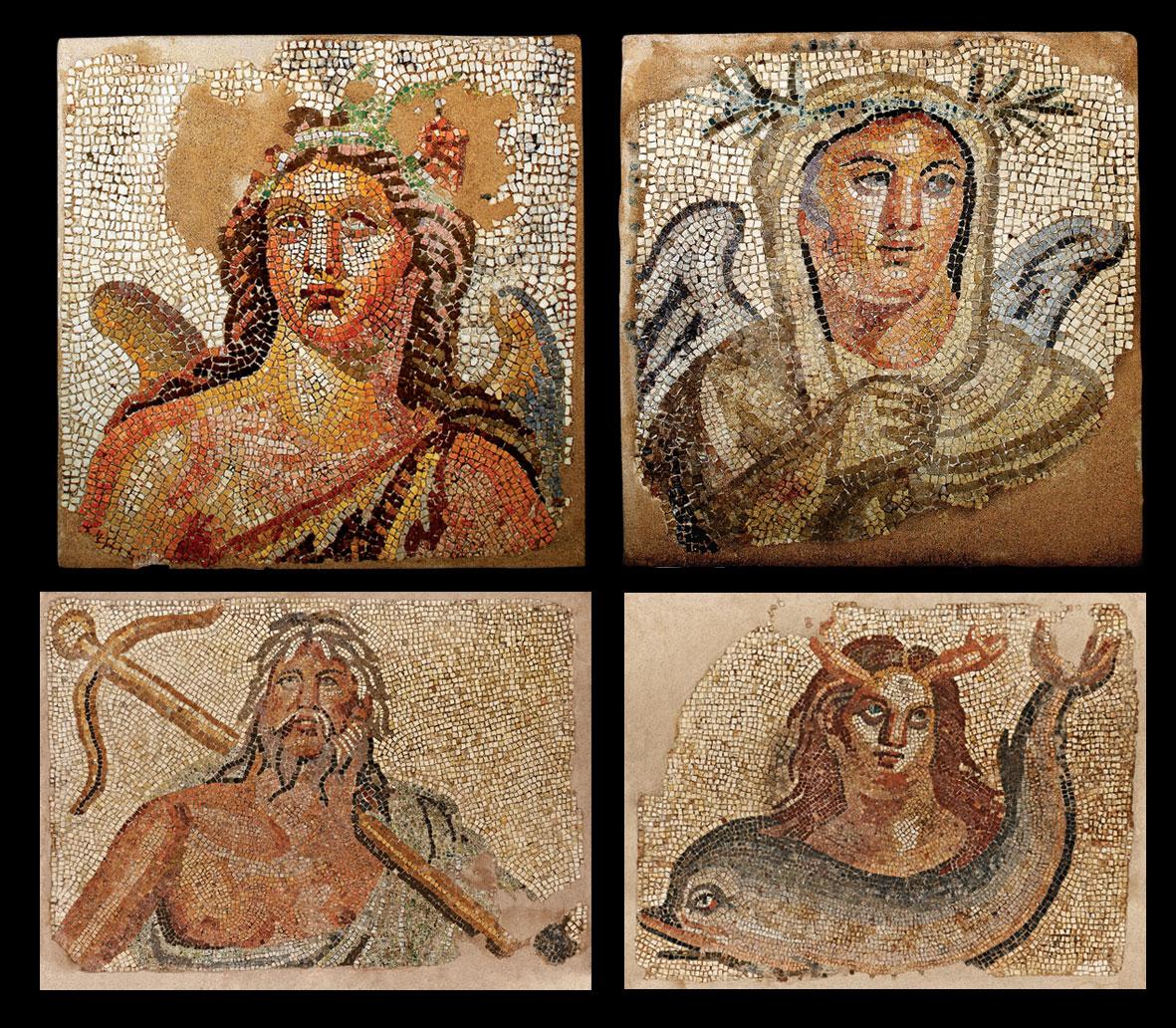 Ψηφιδωτά δάπεδα με απεικονίσεις της Άνοιξης/Φθινοπώρου (ΜΘ 6724), του Χειμώνα (ΜΘ 6728), του Ωκεανού (ΜΘ 6725) και της Θάλασσας (ΜΘ 6726), Αρχαιολογικό Μουσείο Θεσσαλονίκης. © ΑΜΘ, ΥΠΠΟΑ - ΟΔΑΠ.