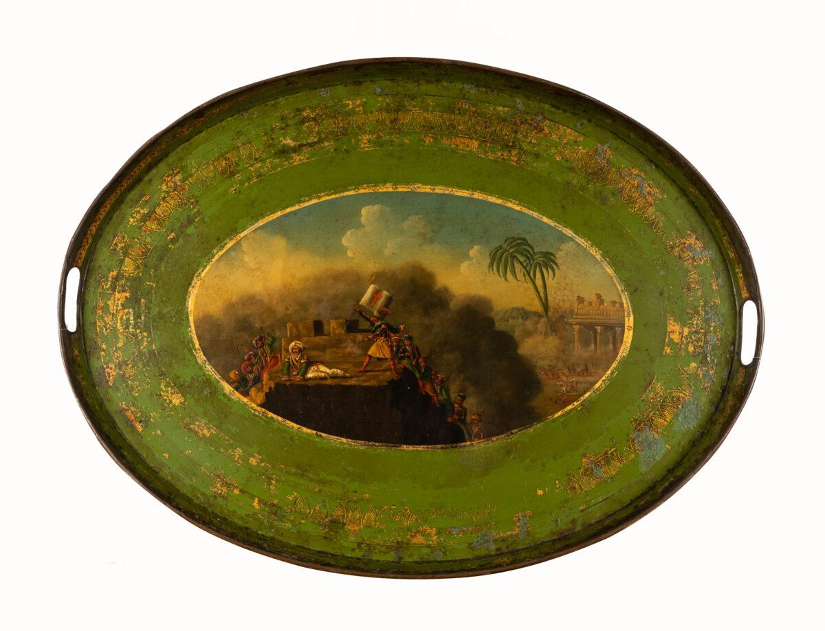 Δίσκος σερβιρίσματος με παράσταση «Ο Αλέξανδρος Μαυροκορδάτος καταλαμβάνει ένα ύψωμα». Γαλλία, δεκαετία 1820.