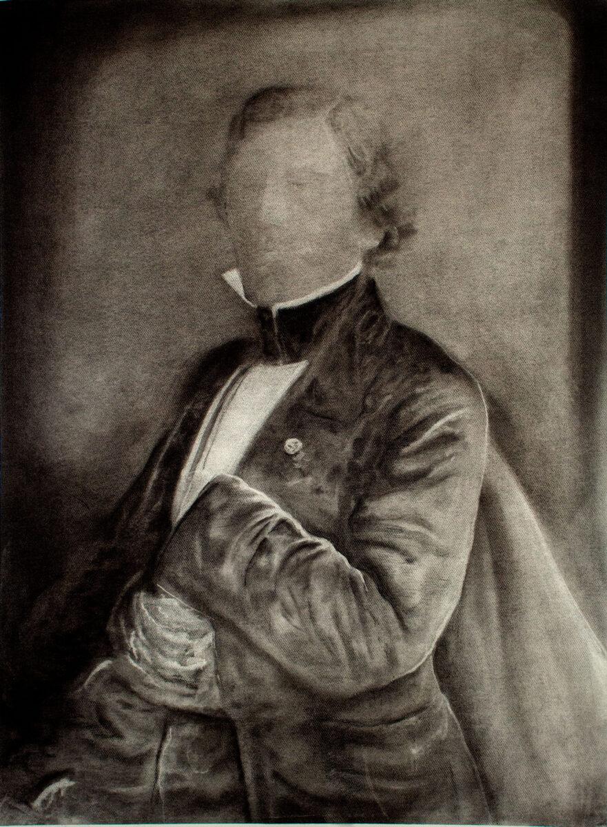 Βαγγέλης Γκόκας, «E.D.», 2020, κάρβουνο, 150x120 εκ.