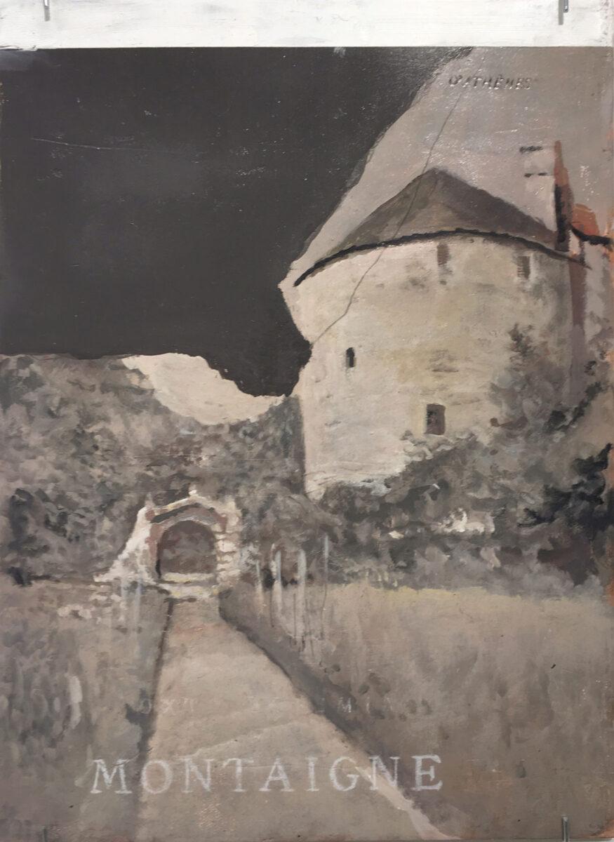 Βαγγέλης Γκόκας, «Montaigne», 2017, λάδι σε ξύλο, 35x26 εκ.