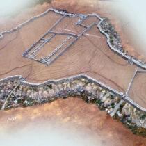 Τρισδιάστατο μοντέλο της ακρόπολης του Γλα βασισμένο στην αναπαράσταση των N. Fields και D. Spedaliere (Mycenaean Citadels, c. 1350–1200 BC).
