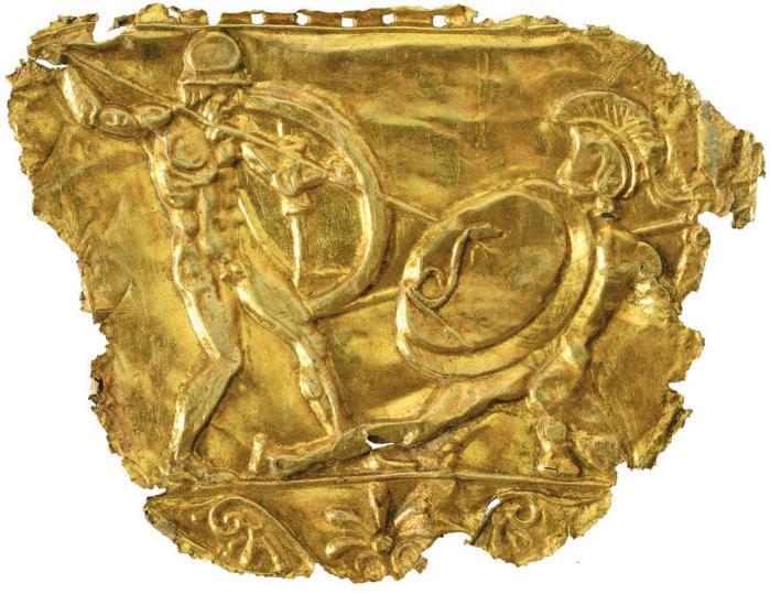 Χρυσό έλασμα από τη βασιλική ασπίδα, περ. 430 π.Χ. © Υπουργείο Πολιτισμού και Αθλητισμού.