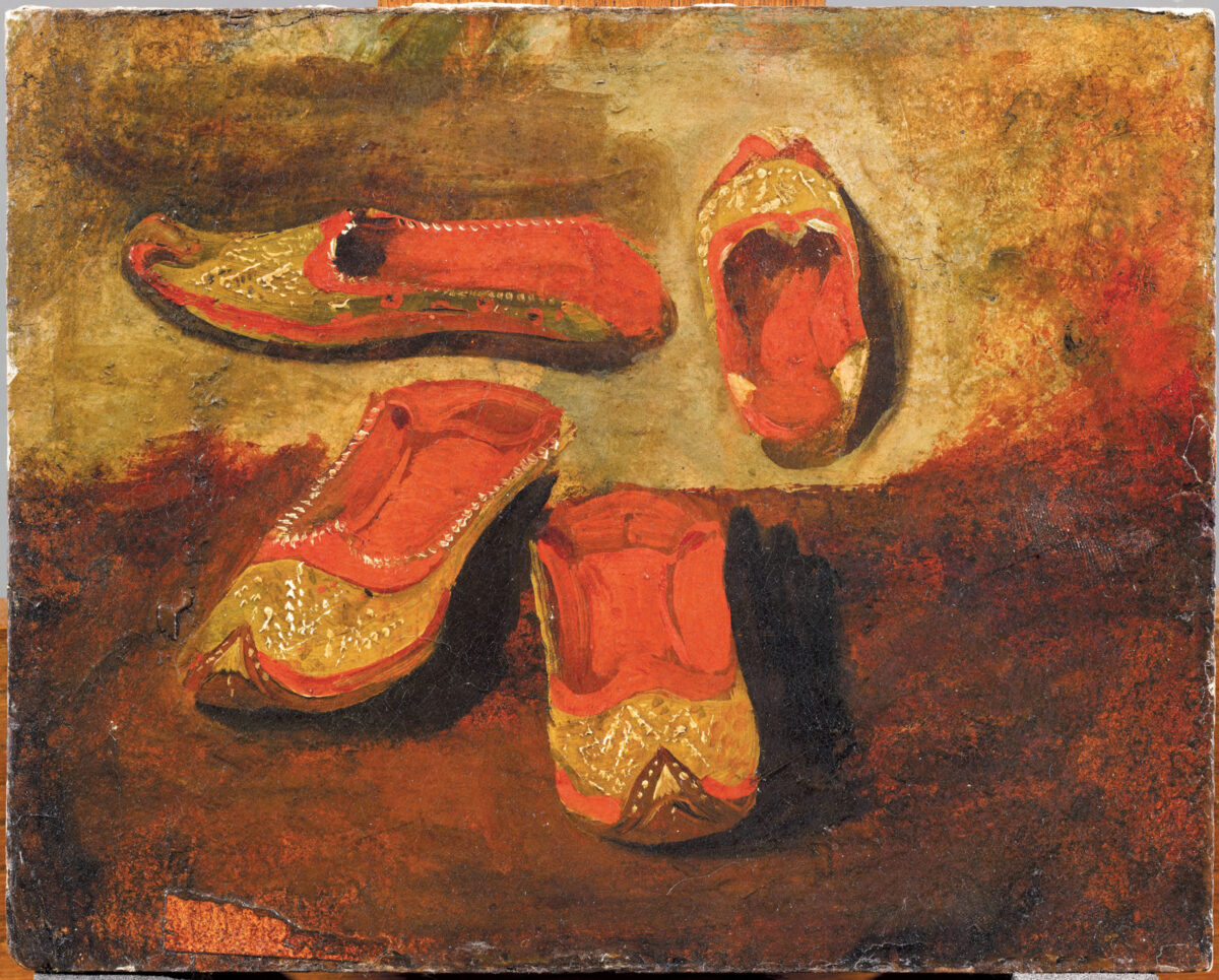 Ευγένιος Ντελακρουά, «Σπουδή για μαροκινές παντόφλες», λάδι σε μουσαμά, 16,5x20,5 εκ. (Μουσείο Λούβρου RF 1953_4).