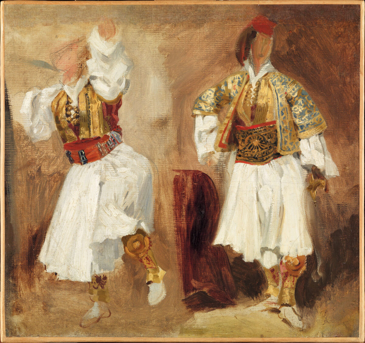 Ευγένιος Ντελακρουά, «Δύο σπουδές για σουλιώτικες φορεσιές», λάδι σε χαρτόνι, 43x46 εκ. (Μουσείο Λούβρου RF 3639).