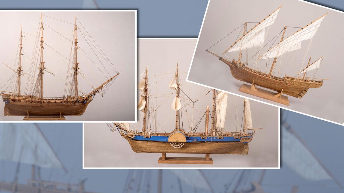 Ομοιώματα ιστορικών πλοίων, έργα του Αντώνη Τζούμα (φωτ.: ΠΙΟΠ).