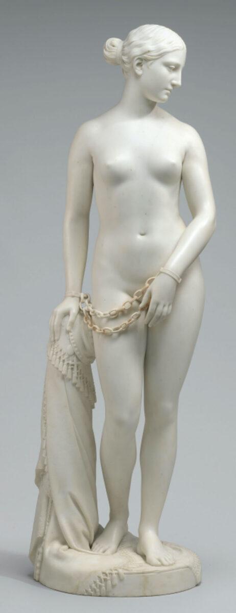 «Η Ελληνίδα σκλάβα», γλυπτό του Χάιραμ Πάουερς (φωτ.: Μουσείο Μακεδονικού Αγώνα).