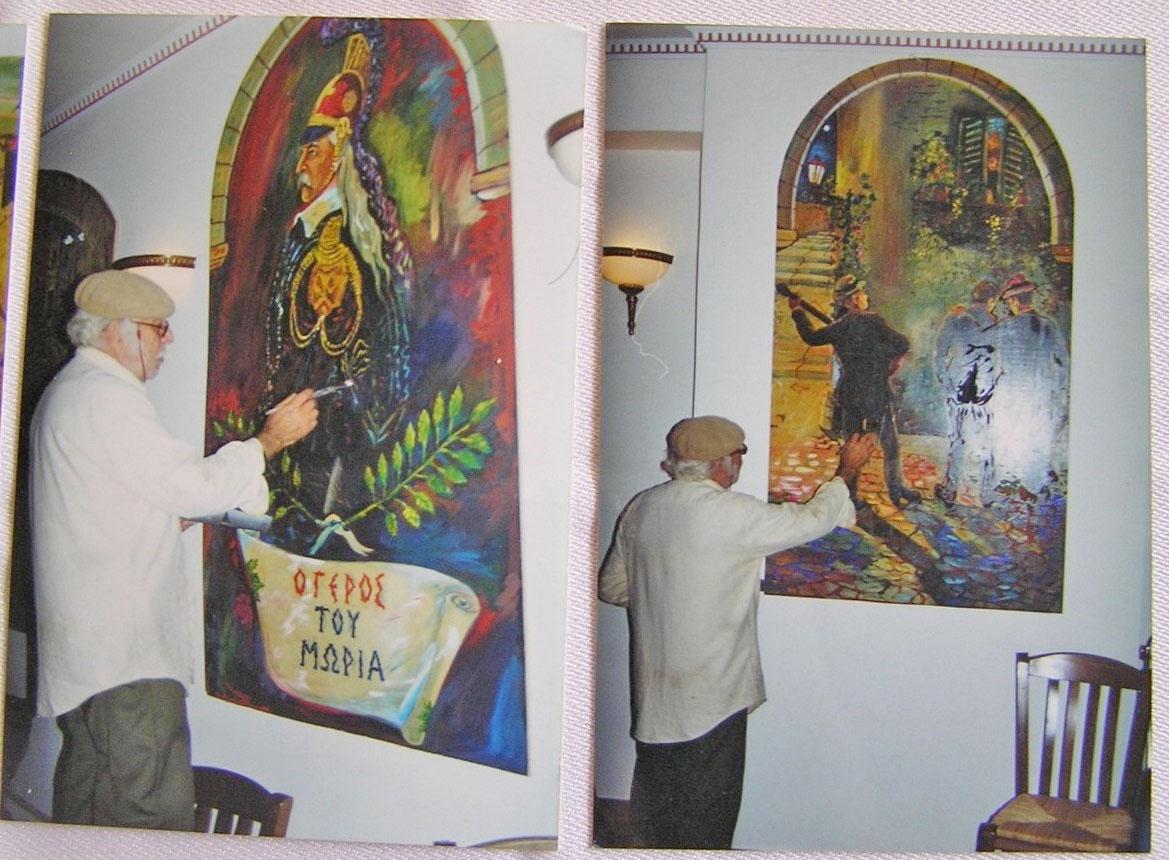 Ο Γ. Σαββάκης στον «Γέρο του Μωριά» συντηρεί έργα του (φωτ.: ΥΠΠΟΑ).