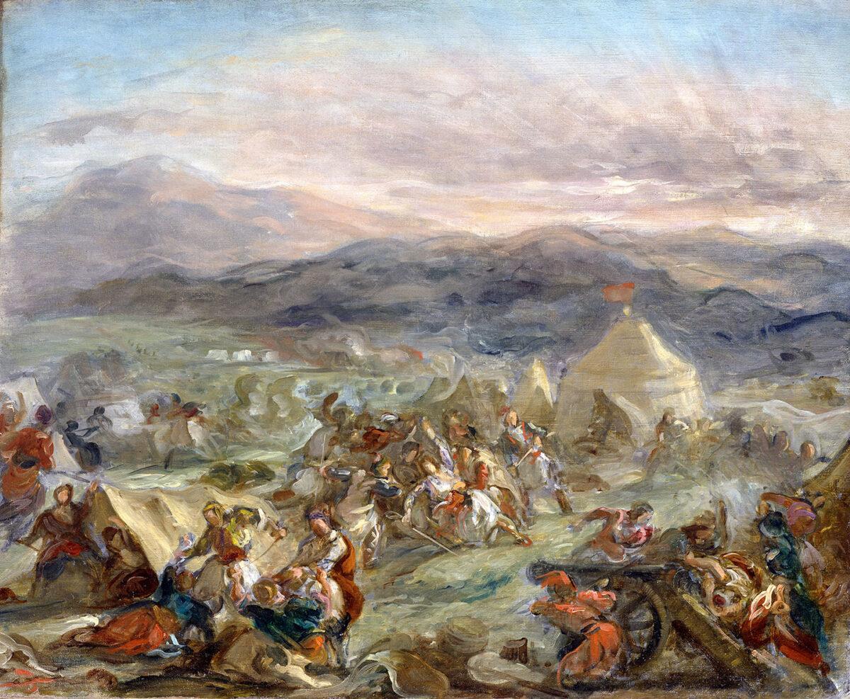 Eugène Delacroix, «O Μπότσαρης αιφνιδιάζει το στρατόπεδο των Τούρκων και τραυματίζεται θανάσιμα», 1860-1862. Λάδι σε καμβά, 65x73 εκ. Toledo Museum of Art (Ohio, USA), 1994.36. Αγοράστηκε με χορηγία της Δωρεάς Libbey, του Edward Drummond Libbey, και με χορηγίες του κληροδοτήματος της Florence Scott Libbey, στη μνήμη του πατέρα της, Maurice A. Scott.