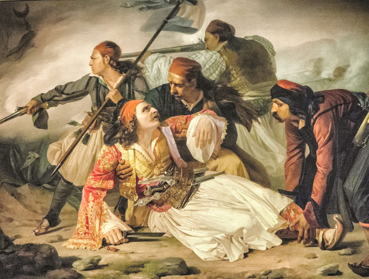 Ludovico Lipparini, «O θάνατος του Μάρκου Μπότσαρη» (La morte di Marco Botzaris), περ. 1841. Λάδι σε καμβά, 160x230 εκ. Τεργέστη, Civico Museo Sartorio, αρ. ευρ. 20208.