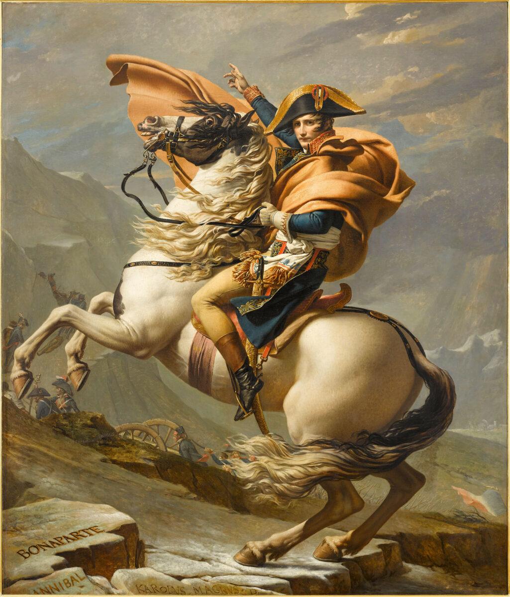 Jacques-Louis David, «Ο Βοναπάρτης διασχίζει το πέρασμα του Μεγάλου Αγίου Βερνάρδου (Άλπεις)», 1800-1801. Λάδι σε καμβά 260x221 εκ. Rueil-Malmaison, Musée national du château de Malmaison, αρ. ευρ. M.M.49.7.1.