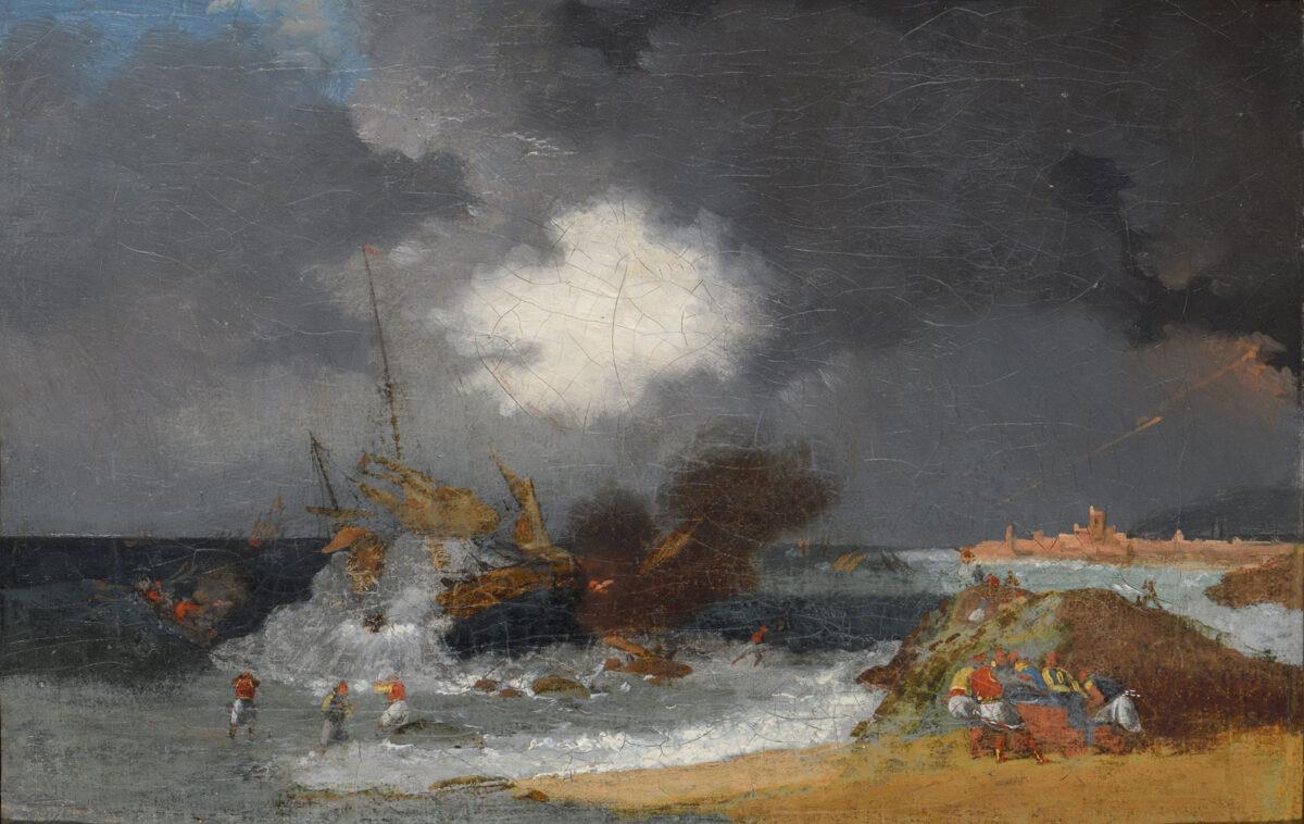 Horace Vernet (1789-1863), «Τουρκικό πλοίο καίγεται», 1821. Λάδι σε καμβά, 20,5x39 εκ. Μουσείο Μπενάκη (8992).