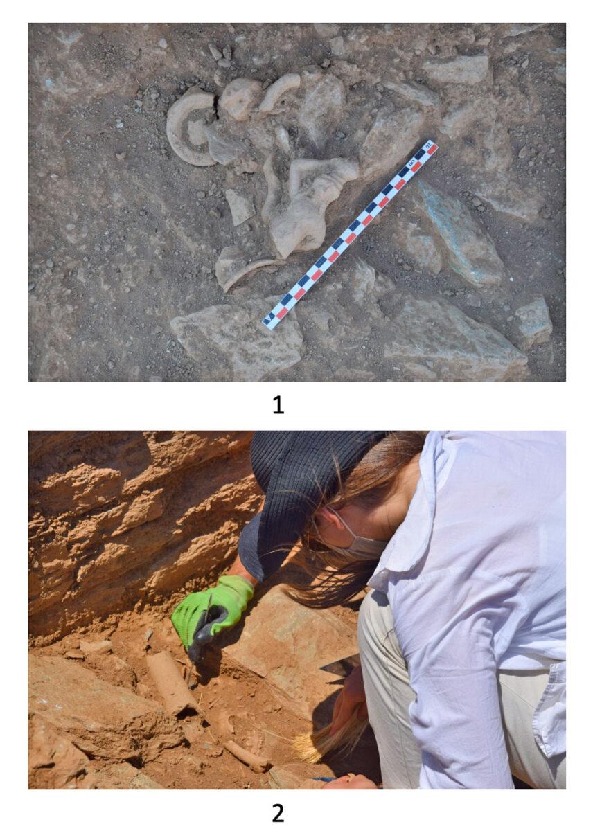 Εικ. 5. Πάνω: Κτίριο 3. Ευρήματα κατά χώραν. Κάτω: Λεπτομέρεια της ΝΔ γωνίας του «αδύτου» του ναού κατά την αποκάλυψη κυλινδρικού στελέχους θυμιατηρίου ή πολύμυξου σκεύους και διάσπαρτων οστών ζώων, κυρίως χοιριδίων.