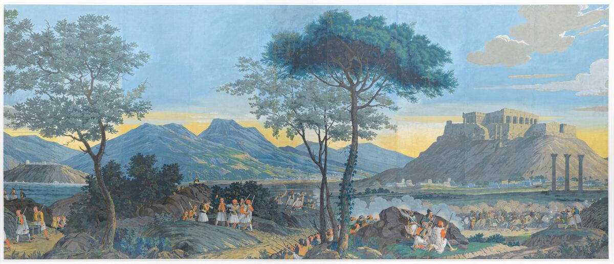 Λεπτομέρεια της χάρτινης επένδυσης τοίχου «Οι Μάχες των Ελλήνων», Ιδιωτική συλλογή, Ιταλία.