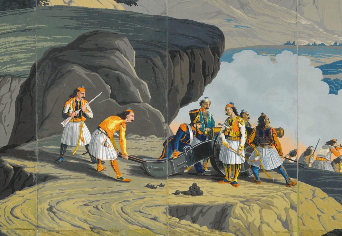 Λεπτομέρεια της χάρτινης επένδυσης τοίχου «Oι Μάχες των Ελλήνων», όπου απεικονίζεται η ομάδα των πυροβολητών που σύρουν το κανόνι, εμπνευσμένη από τη λιθογραφία του Horace. Iδιωτική συλλογή, Ιταλία.