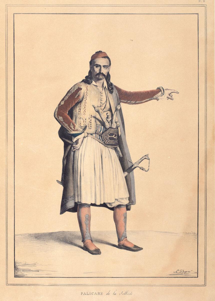 Louis Dupré, «Παλικάρι της Σελλαΐδας», 1825 επιχρωματισμένη λιθογραφία, 37x26 εκ. Εθνολογικό και Λαογραφικό Μουσείο Χρισσού, Συλλογή Ηλία Ευθ. Δαραδήμου.
