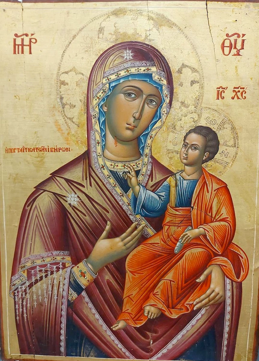 Η εικόνα της Παναγίας Πορταΐτισσας μετά την κλοπή (φωτ.: ΥΠΠΟΑ).